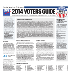 2014 VOTERS GUIDE ABOUT THIS VOTERS GUIDE WHAT TO TAKE TO THE POLLS