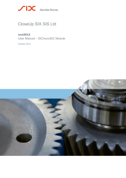 CloseUp SIX SIS Ltd  webMAX – SIC/euroSIC Module