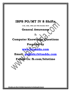IBPS PO/MT IV 8 Shifts General Awareness Computer