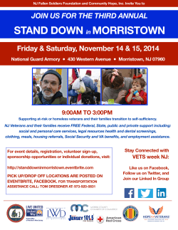 STAND DOWN MORRISTOWN Friday & Saturday, November 14 & 15, 2014