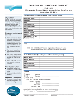 EXHIBITOR APPLICATION AND CONTRACT Fall 2014 Minnesota Ground Water Association Conference