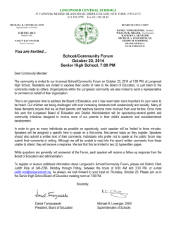 You are Invited… School/Community Forum October 23, 2014