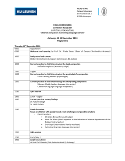 FINAL CONFERENCE CO-Minor-IN/QUEST Antwerp, 13-14 November 2014
