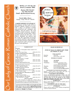 MASS SCHEDULE  29TH SUNDAY IN ORDINARY TIME OCTOBER 19, 2014