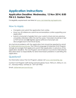 Application Instructions Application Deadline: Wednesday, 12 Nov 2014, 8:00 How to Apply