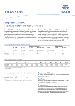 Ympress® S700MC Strong, consistent and highly formable