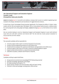 ????  Operational Support and Evaluation Engineer Job: Operational Support and Evaluation Engineer