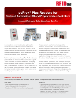 pcProx Plus Readers for Rockwell Automation HMI and Programmable Controllers ®