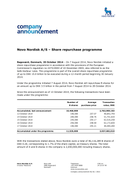 Novo Nordisk A/S – Share repurchase programme