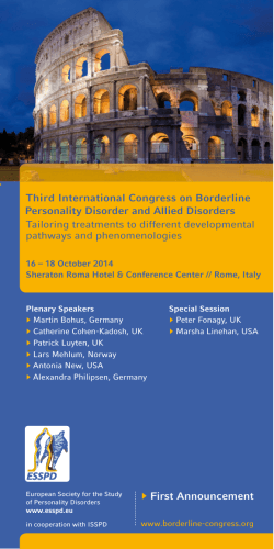 Third International Congress on Borderline Personality Disorder and Allied Disorders