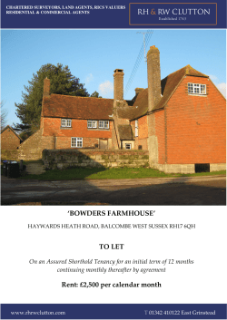 'BOWDERS FARMHOUSE' TO LET