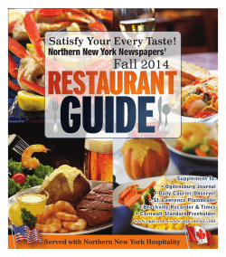 Fall 2014 Satisfy Your Every Taste! Northern New York Newspapers'
