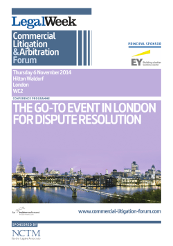 THE GO-TO EVENT IN LONDON FOR DISPUTE RESOLUTION Commercial Litigation