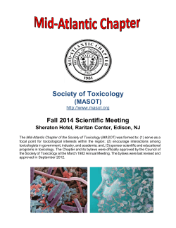 Society of Toxicology (MASOT) Fall 2014 Scientific Meeting