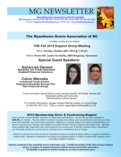 MG NEWSLETTER Fall 2014 The Myasthenia Gravis Association of BC