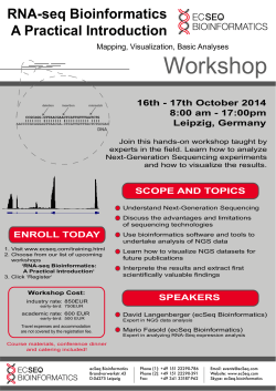 Workshop RNA-seq Bioinformatics A Practical Introduction 16th - 17th October 2014