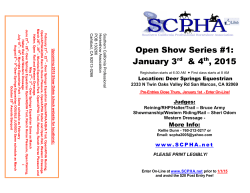 Open Show Series #1: January 3 & 4 , 2015