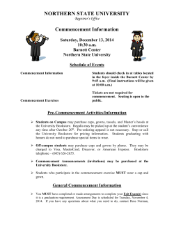 NORTHERN STATE UNIVERSITY Commencement Information  Saturday, December 13, 2014