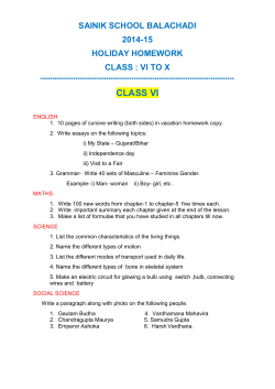 CLASS VI SAINIK SCHOOL BALACHADI 2014-15 HOLIDAY HOMEWORK