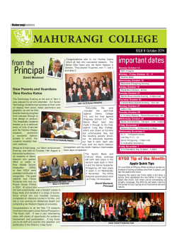 MAHURANGI  COLLEGE important dates from the