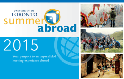 2015 Your passport to an unparalleled learning experience abroad