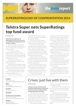 Telstra Super nets SuperRatings top fund award SUPERRATINGS DAY OF CONFRONTATION 2014
