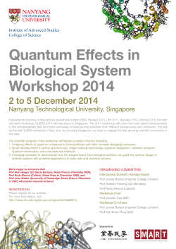 Quantum Effects in Biological System Workshop 2014 2 to 5 December 2014
