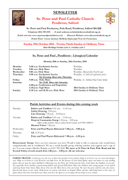 Ss. Peter and Paul Catholic Church NEWSLETTER   Pendleton, Salford