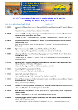 09. HIV/TB programme links: hand in hand screening for TB... Thursday, 30 October 2014, 10:15-11:15
