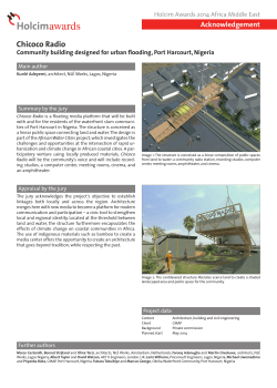 Chicoco Radio Acknowledgement Holcim Awards 2014 Africa Middle East