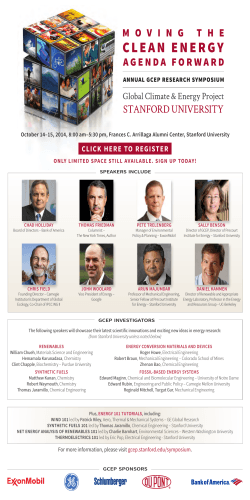 October 14–15, 2014, 8:00 am–5:30 pm, Frances C. Arrillaga Alumni... CHAD HOLLIDAY THOMAS FRIEDMAN