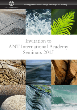 Invitation to ANT International Academy Seminars 2015