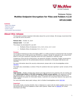 Release Notes McAfee Endpoint Encryption for Files and Folders 4.2.0 HF1013485