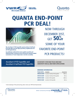 QUANTA END-POINT PCR DEAL! 50 NOW THROUGH