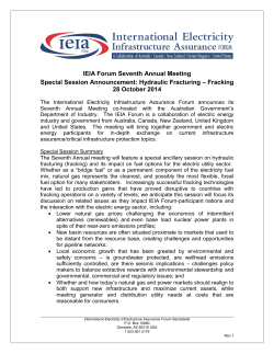 IEIA Forum Seventh Annual Meeting – Fracking Special Session Announcement: Hydraulic Fracturing