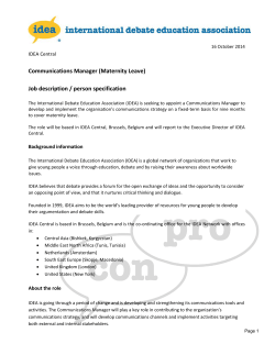Communications Manager (Maternity Leave) Job description / person specification IDEA Central