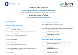 2nd Annual TIMCC Symposium Wednesday October 22 , 2014