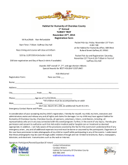 Habitat for Humanity of Cherokee County 1 Annual TURKEY TROT