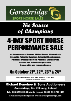 4-DAY SPORT HORSE PERFORMANCE SALE The Source of Champions