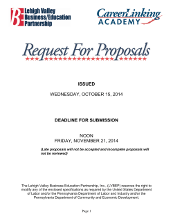 ISSUED DEADLINE FOR SUBMISSION  WEDNESDAY, OCTOBER 15, 2014