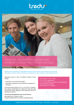 VOCATIONAL QUALIFICATION IN BUSINESS AND ADMINISTRATION, CUSTOMER SERVICES AND SALES
