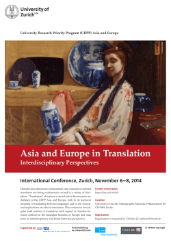 Asia and Europe in Translation Interdisciplinary Perspectives