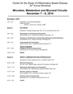 Microbes, Metabolism and Mucosal Circuits – 8, 2014 November 7