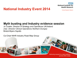 National Industry Event 2014 Myth busting and Industry evidence session
