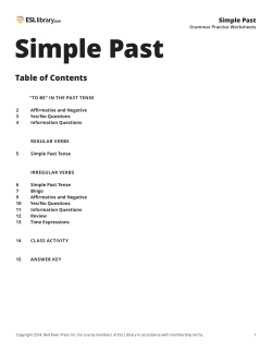 Simple Past Table of Contents