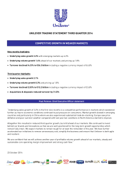 UNILEVER TRADING STATEMENT THIRD QUARTER 2014 COMPETITIVE GROWTH IN WEAKER MARKETS