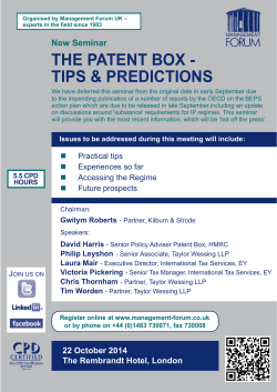 THE PATENT BOX - TIPS & PREDICTIONS New Seminar
