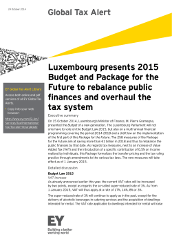 Global Tax Alert Luxembourg presents 2015 Budget and Package for the