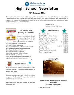 High  School Newsletter 26 October, 2014