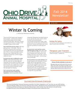 Winter Is Coming Fall 2014 Newsletter